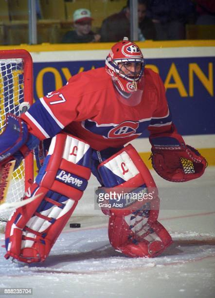 Martin Brochu of the Montreal Canadiens skates against the Toronto Maple Leafs during NHL Preseason game action on September 22 1995 at Maple Leaf...