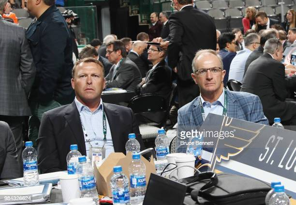 Martin Brodeur and Al MacInnis of the St Louis Blues attend the 2018 NHL Draft at American Airlines Center on June 23 2018 in Dallas Texas
