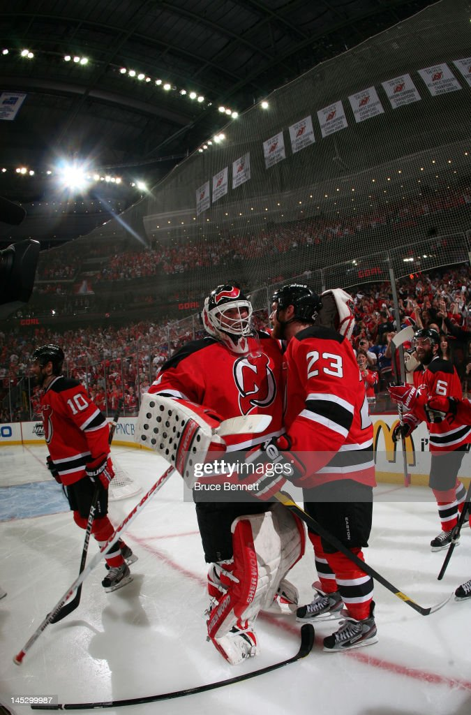 Martin Brodeur and David Clarkson of the New Jersey Devils celebrate ... 9c6fd6cb0