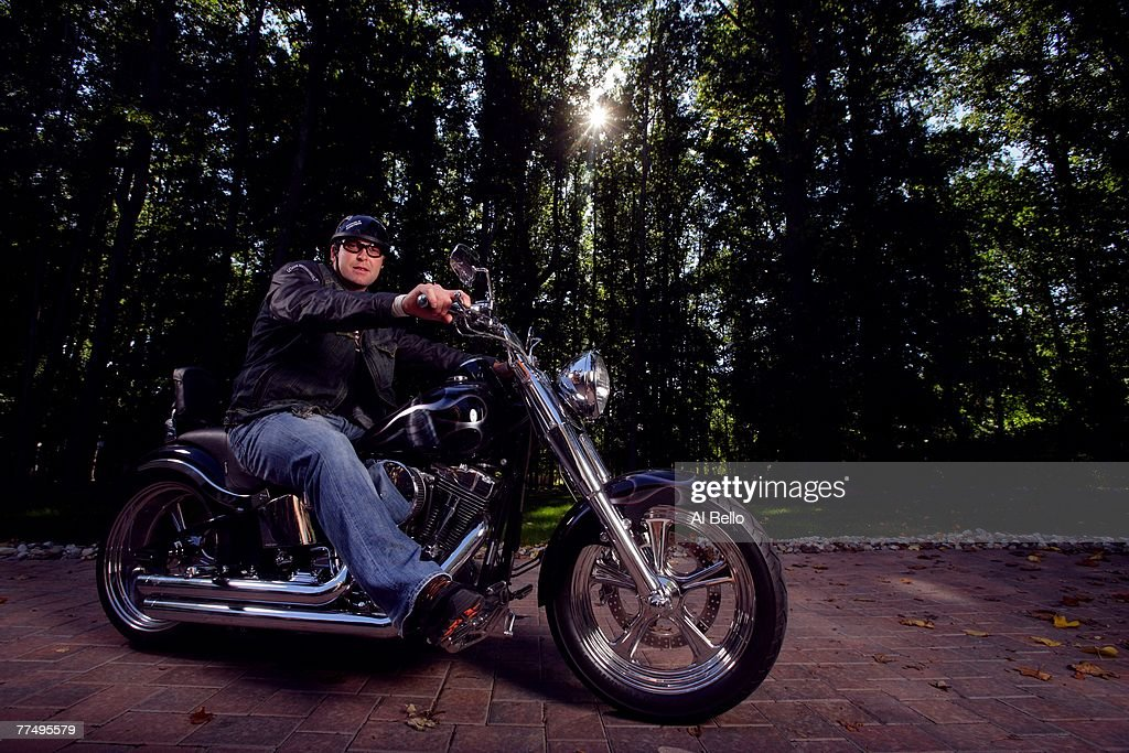 Martin Brodeur Goalie For The New Jersey Devils Poses On A Harley