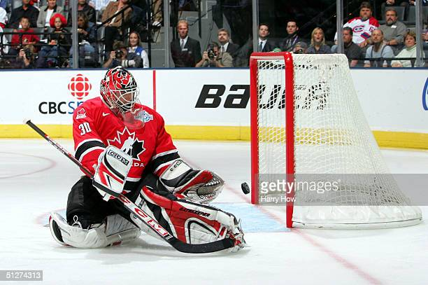 Martin Brodeur of Team Canada makes a save against Team Slovakia during the first period of their quarterfinal game in the World Cup of Hockey...