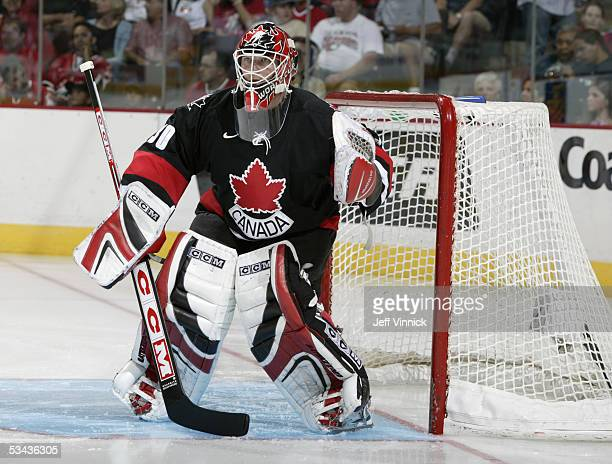Martin Brodeur of Team Canada tends goal during an exhibition game against Slovakia at the World Cup of Hockey on August 28, 2004 at the Corel Centre...