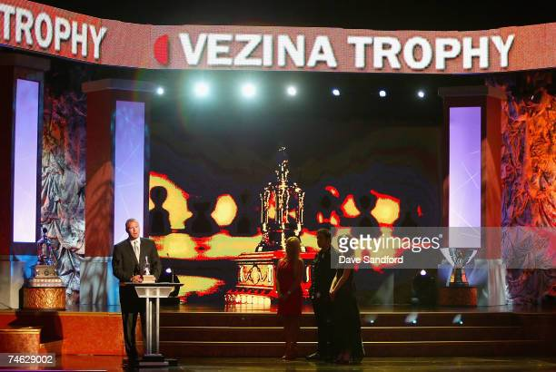 Martin Brodeur of the New Jersey Devils accepts the Vezina Trophy for Top Goalie in the NHL onstage during the 2007 NHL Awards Show at the Elgin...