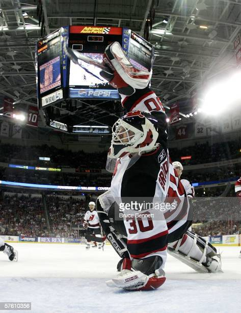 Martin Brodeur of the New Jersey Devils makes a save against the Carolina Hurricanes in game five of the Eastern Conference Semifinals during the...