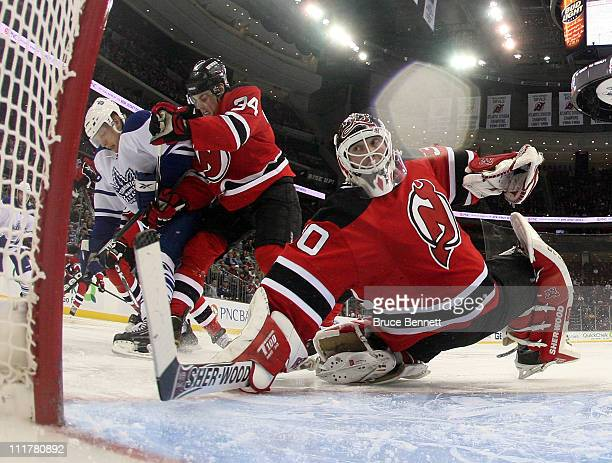Martin Brodeur of the New Jersey Devils makes the second period save against the Toronto Maple Leafs at the Prudential Center on April 6 2011 in...