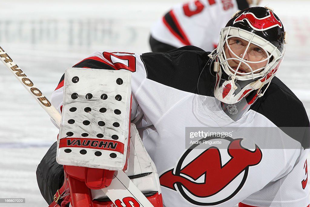 Martin Brodeur #30 of the New Jersey Devils skates against the Ottawa Senators on March 25, 2013 at Scotiabank Place in Ottawa, Ontario, Canada.