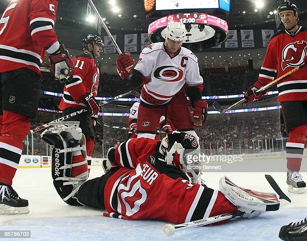 Martin Brodeur of the New Jersey Devils tends net against the Carolina Hurricanes on March 28 2009 at the Prudential Center in Newark New Jersey