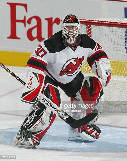 Martin Brodeur of the New Jersey Devils warms up against the Philadelphia Flyers on October 18, 2007 at the Wachovia Center in Philadelphia,...