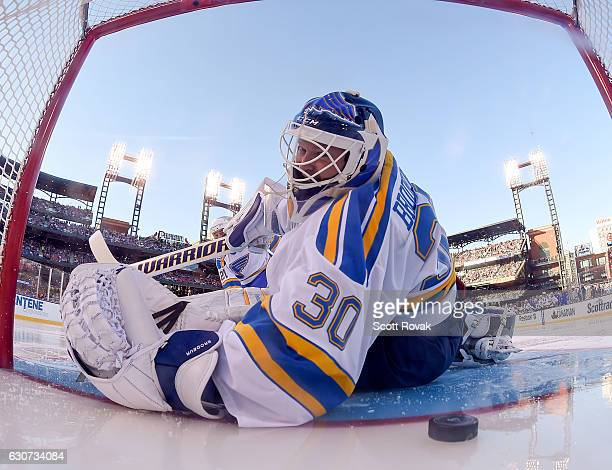 Martin Brodeur of the St Louis Blues lets up a goal against the Chicago Blackhawks during the 2017 Bridgestone NHL Winter Classic Alumni Game at...