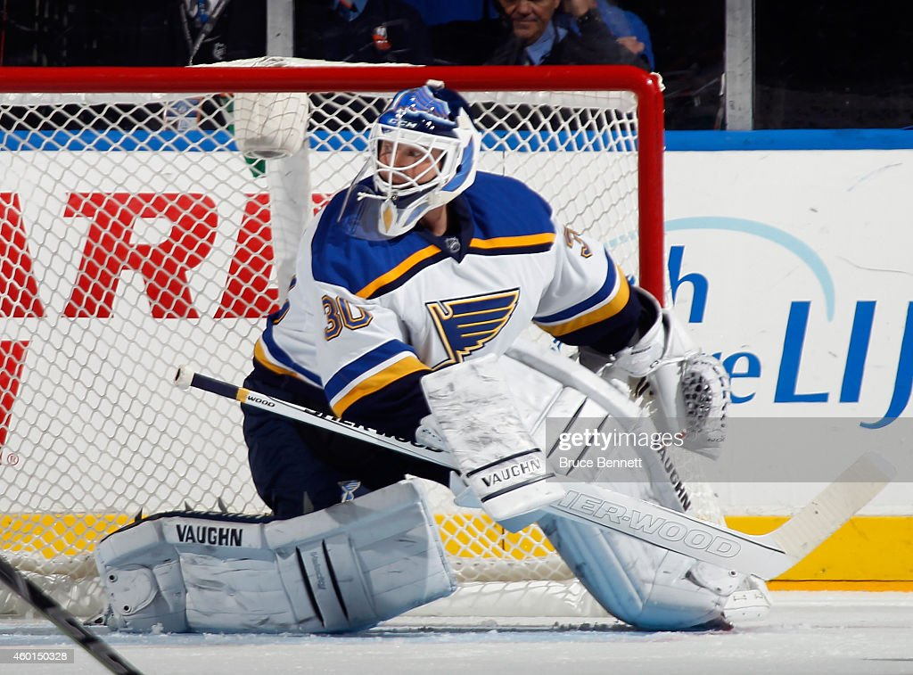 Martin Brodeur Of The St Louis Blues Tends Net Against The New York