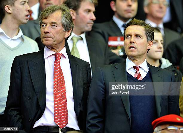 Martin Broughton the new chairman of Liverpool stands with Christian Purslow Liverpools managing director during the Barclays Premier League match...