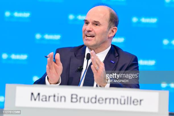 Martin Brudermueller chairman of German chemicals giant BASF gives a press conference to present his company's business report on February 26 2019 in...