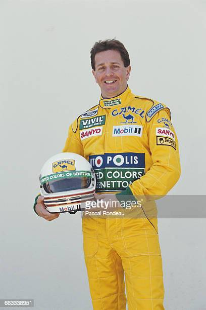 Martin Brundle of Great Britain and driver of the Camel Benetton Ford Benetton B191B Ford HB V8 poses for a portrait during practice for the Yellow...