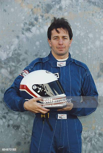Martin Brundle of Great Britain driver of the Motor Racing Developments Ltd Brabham BT59Y Yamaha V12 poses for a portrait during pre season testing...