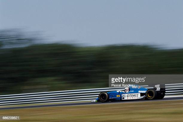 Martin Brundle of Great Britain drives the Ligier Gitanes Blondes Ligier JS39 Renault V10 during the Hungarian Grand Prix on 15 August 1993 at the...