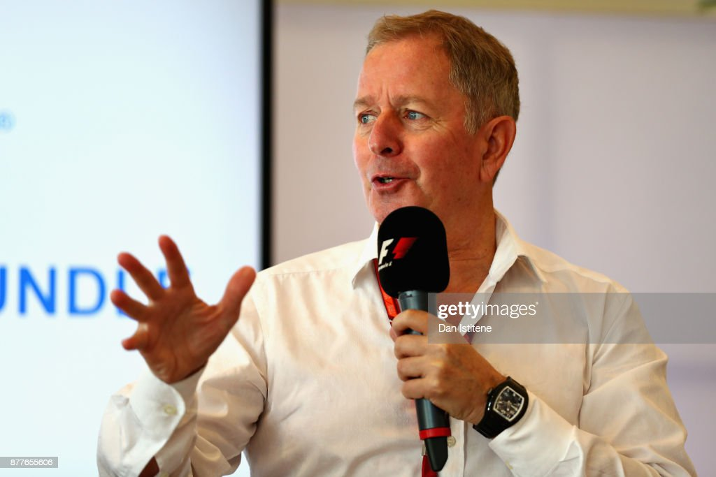 Martin Brundle talks on stage during the F1 Connectivity Innovation prize giving at Yas Marina Circuit on November 23, 2017 in Abu Dhabi, United Arab Emirates.