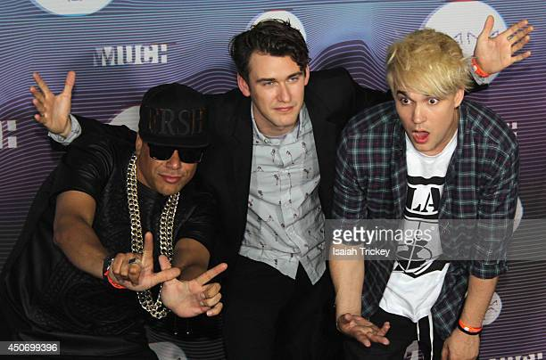 Martin 'Bucky' Seja Patrick 'Pat' Gillett and Cameron 'Camm' Hunter of Down With Webster pose in the press room at the 2014 MuchMusic Video Awards at...