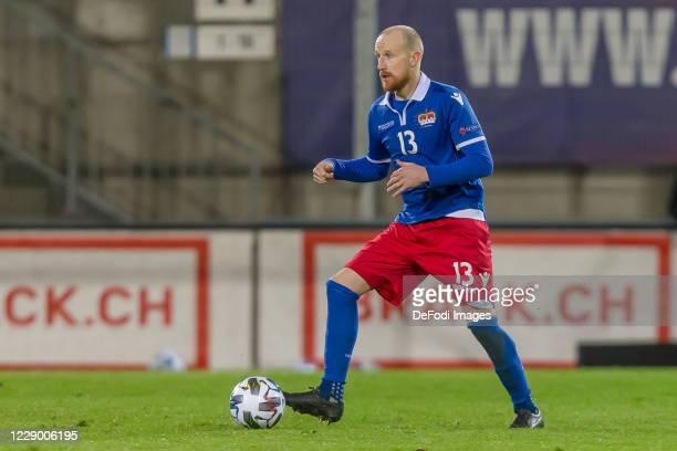 Martin Buechel of Liechtenstein controls the Ball during the UEFA Nations League group stage match between Liechtenstein and Gibraltar at Rheinpark...