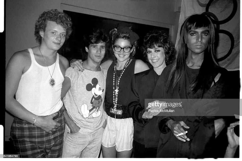 Martin Burgoyne, John 'Jellybean' Benitez, Madonna, Lisa Robinson, and Steven Meisel at David Lee Roth's birthday party held at Area. 1984.