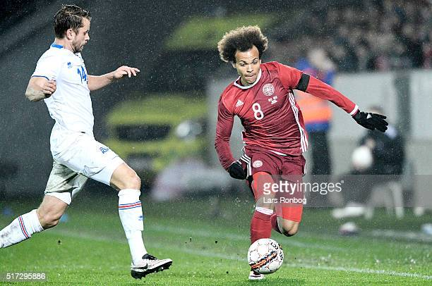 Martin C Braithwaite of Denmark in action during the international friendly match between Denmark and Iceland at MCH Arena on March 24 2016 in...