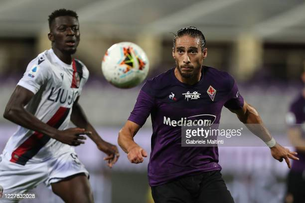 Martin Caceres of ACF Fiorentina in action during the Serie A match between ACF Fiorentina and Bologna FC at Stadio Artemio Franchi on July 29, 2020...