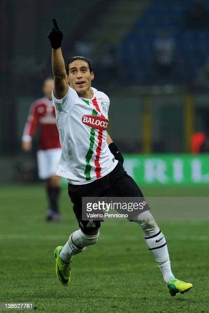 Martin Caceres of Juventus FC celebrates his second goal during the Tim Cup match between AC Milan and Juventus FC at Giuseppe Meazza Stadium on...