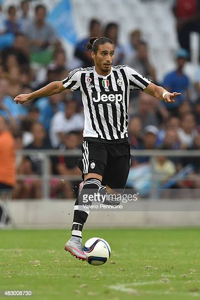 Martin Caceres of Juventus FC in action during the preseason friendly match between Olympique de Marseille and Juventus FC at Stade Velodrome on...