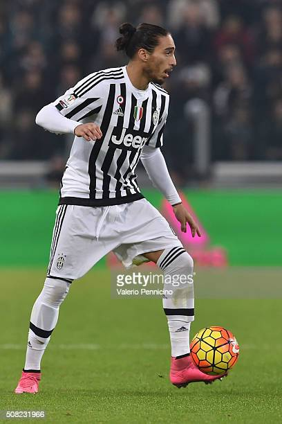Martin Caceres of Juventus FC in action during the Serie A match between Juventus FC and AS Roma at Juventus Arena on January 24 2016 in Turin Italy