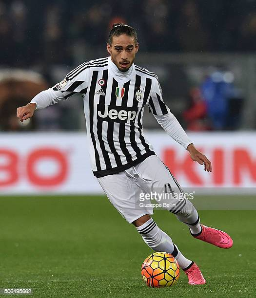 Martin Caceres of Juventus FC in action during the TIM Cup between SS Lazio and Juventus FC at Stadio Olimpico on January 20 2016 in Rome Italy