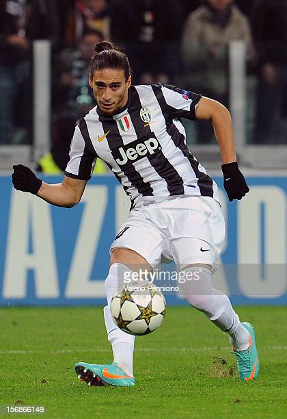 Martin Caceres of Juventus in action during the UEFA Champions League Group E match between Juventus and Chelsea FC at Juventus Arena on November 20...
