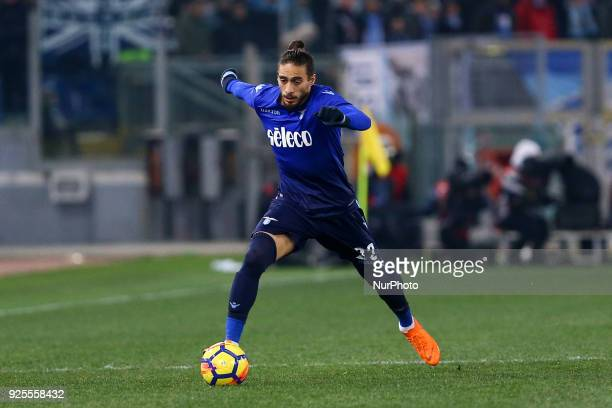 Martin Caceres of Lazio during the Italian Cup semi final match between Lazio and AC Milan at Stadio Olimpico Rome Italy on 28 February 2018