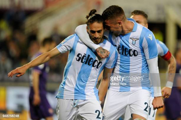Martin Caceres of SS Lazio celebrates a second goal during the Serie A match between ACF Fiorentina and SS Lazio at Stadio Artemio Franchi on April...