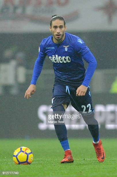 Martin Caceres of SS Lazio in action during the TIM Cup match between AC Milan and SS Lazio at Stadio Giuseppe Meazza on January 31 2018 in Milan...