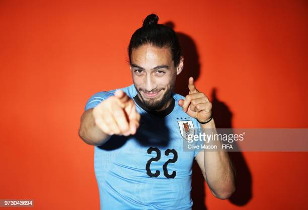 Martin Caceres of Uruguay poses during the official FIFA World Cup 2018 portrait session at the Borsky Sports Centre on June 12 2018 in Nizhny...