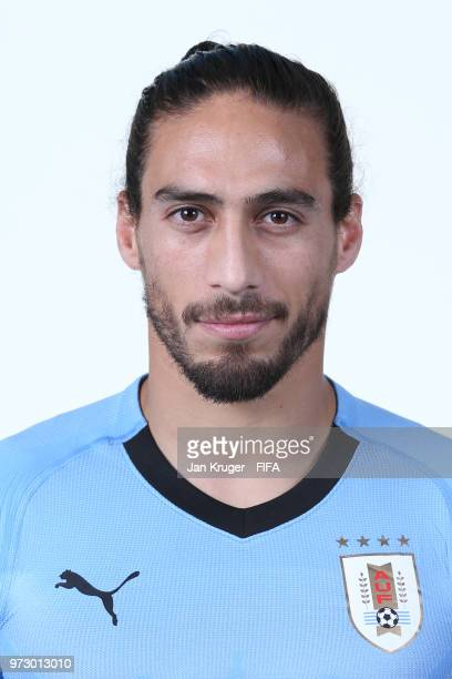 Martin Caceres of Uruguay poses for a portrait during the official FIFA World Cup 2018 portrait session at Borsky Sport Centre on June 12 2018 in...