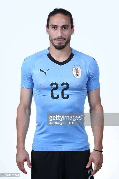 Martin Caceres of Uruguay poses for a portrait during the official FIFA World Cup 2018 portrait session at on June 12 2018 in Nizhniy Novgorod Russia