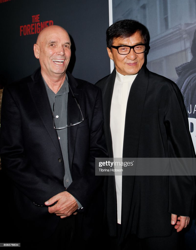 Martin Campbell and Jackie Chan attend the premiere of 'The Foreigner' at ArcLight Hollywood on October 5, 2017 in Hollywood, California.