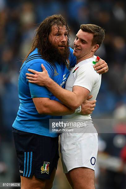 Martin Castrogiovanni of Italy and George Ford of England hug following the final whistle during the RBS Six Nations match between Italy and England...