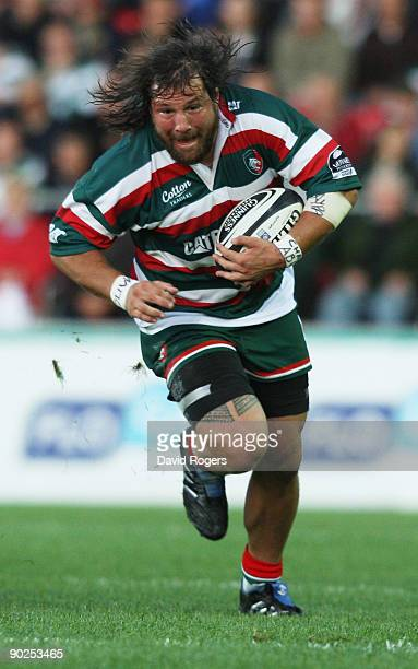 Martin Castrogiovanni of Leicester runs with the ball during the pre season friendly match between Leicester Tigers and Munster at Welford Road on...