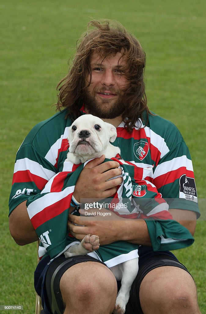 Martin Castrogiovanni of Leicester Tigers poses with his pet bulldog puppy Fatty at Oadby Oval on August 25, 2009 in Leicester, England.
