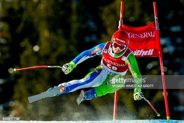 Martin Cater of Slovenia competes in the FIS World Cup Alpine Skiing Mens Super G event in Kvitfjell, Norway, February 26, 2017. / AFP / NTB Scanpix...