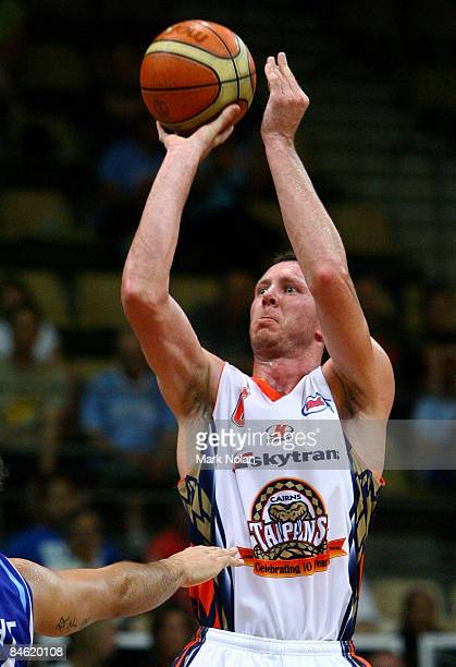 Martin Cattalini of the Taipans shoots during the round 21 NBL match between the Sydney Spirit and the Cairns Taipans held at Sydney Olympic Park...