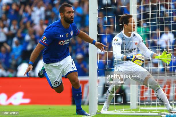 Martin Cauteruccio of Cruz Azul celebrates after scoring the first goal of his team during the 16th round match between Cruz Azul and Morelia as part...