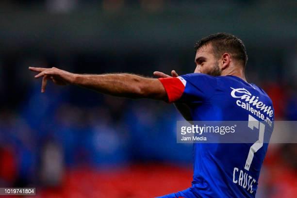 Martin Cauteruccio of Cruz Azul celebrates after scoring the second goal of his team during a match between Cruz Azul and Zacatepec as part of Copa...