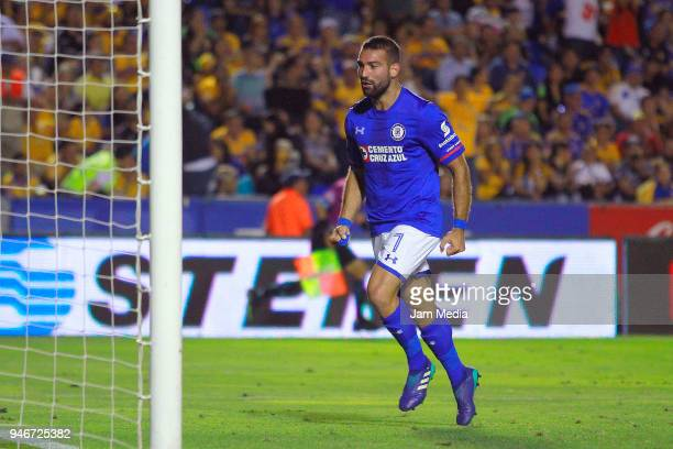 Martin Cauteruccio of Cruz Azul celebrates after scoring the second goal of his team during the 15th round match between Tigres UANL and Cruz Azul as...