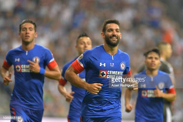 Martin Cauteruccio of Cruz Azul celebrates with teammates after scoring his team's second goal during the Final match between Monterrey and Cruz Azul...