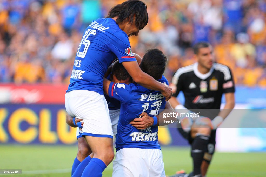 Martin Cauteruccio of Cruz Azul celebrates with teammates after scoring the first goal of his team, during the 15th round match between Tigres UANL and Cruz Azul as part of the Torneo Clausura 2018 Liga MX at Universitario Stadium on April 14, 2018 in Monterrey, Mexico.