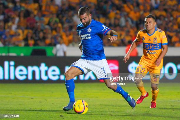 Martin Cauteruccio of Cruz Azul kicks to score the second goal of his team during the 15th round match between Tigres UANL and Cruz Azul as part of...