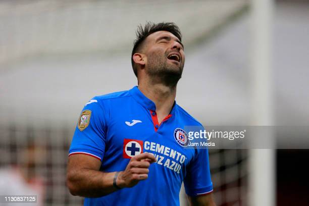 Martin Cauteruccio of Cruz Azul lament during a match between Cruz Azul and Alebrijes as part of the Copa MX Clausura 2019 at Azteca Stadium on...