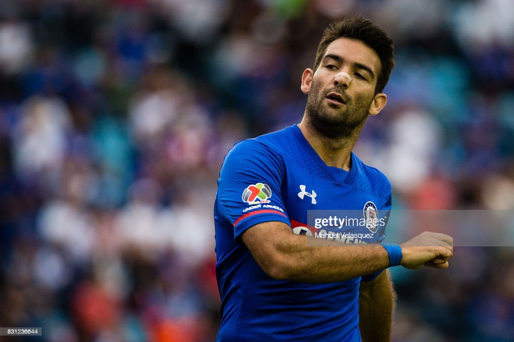 Martin Cauteruccio of Cruz Azul reacts during the 4th round match between Cruz Azul and Chivas as part of the Torneo Apertura 2017 Liga MX at Azul Stadium on August 12, 2017 in Mexico City, Mexico.